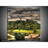 Wandklok op Canvas Tuinen | Kleur: Grijs, Zwart, Groen | F002238C