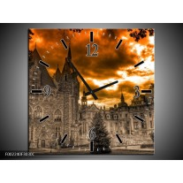 Wandklok op Canvas Kasteel | Kleur: Grijs, Zwart, Bruin | F002240C