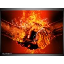 Foto canvas schilderij Handen | Oranje, Geel, Rood