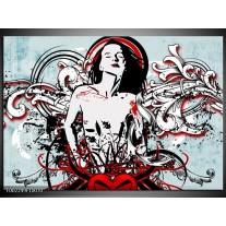Glas schilderij Popart | Zwart, Rood, Wit