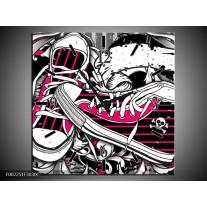 Wandklok op Canvas Popart   Kleur: Zwart, Roze, Wit   F002251C