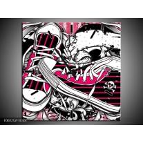 Wandklok op Canvas Popart | Kleur: Zwart, Roze, Wit | F002252C