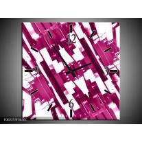 Wandklok op Canvas Abstract | Kleur: Roze, Wit | F002253C