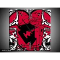Wandklok op Canvas Popart | Kleur: Rood, Zwart, Grijs | F002255C