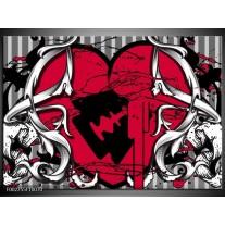 Glas schilderij Popart | Rood, Zwart, Grijs
