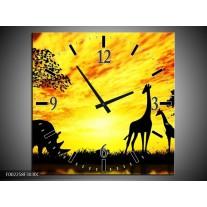 Wandklok op Canvas Natuur | Kleur: Geel, Zwart, Bruin | F002258C
