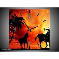 Wandklok op Canvas Natuur   Kleur: Oranje, Zwart, Bruin   F002261C