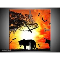 Wandklok op Canvas Natuur | Kleur: Oranje, Rood, Bruin | F002263C