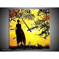 Wandklok op Canvas Natuur | Kleur: Oranje, Rood, Bruin | F002265C