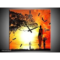 Wandklok op Canvas Natuur | Kleur: Oranje, Rood, Bruin | F002269C