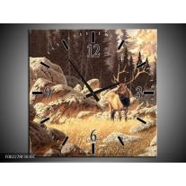 Wandklok op Canvas Natuur   Kleur: Bruin, Wit   F002278C