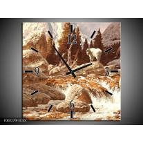 Wandklok op Canvas Natuur | Kleur: Bruin, Wit | F002279C