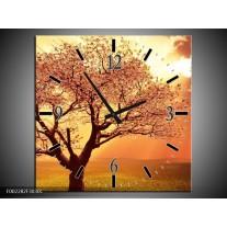 Wandklok op Canvas Boom | Kleur: Geel, Oranje, Bruin | F002282C