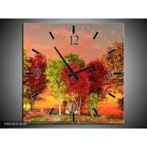 Wandklok op Canvas Herfst | Kleur: Rood, Bruin, Geel | F002283C