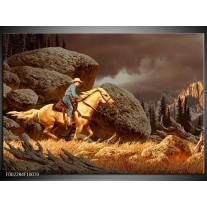 Glas schilderij Paard   Bruin, Geel, Grijs