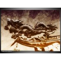 Foto canvas schilderij Draak | Bruin, Grijs