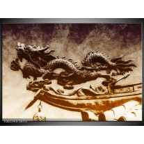 Glas schilderij Draak | Bruin, Grijs