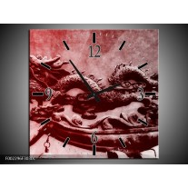 Wandklok op Canvas Draak | Kleur: Rood, Grijs, Wit | F002296C