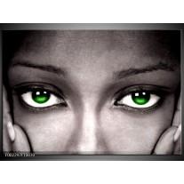 Glas schilderij Gezicht | Zwart, Wit, Groen