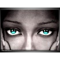 Glas schilderij Gezicht | Zwart, Wit, Blauw