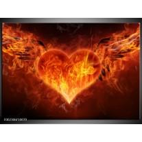 Foto canvas schilderij Hart | Rood, Geel, Oranje