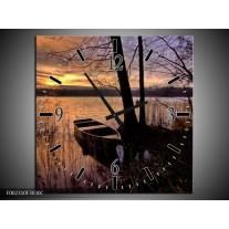 Wandklok op Canvas Natuur | Kleur: Geel, Zwart, Blauw | F002310C