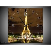Wandklok op Canvas Parijs | Kleur: Geel, Bruin, Wit | F002311C