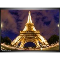 Glas schilderij Eiffeltoren | Geel, Paars, Grijs