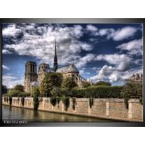 Glas schilderij Notre Dame | Grijs, Blauw, Groen