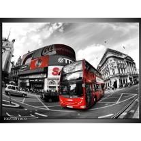 Glas schilderij London | Zwart, Grijs, Rood