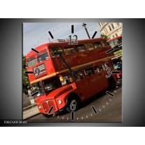 Wandklok op Canvas Engeland | Kleur: Zwart, Wit, Rood | F002320C