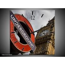 Wandklok op Canvas Engeland | Kleur: Zwart, Wit, Rood | F002321C