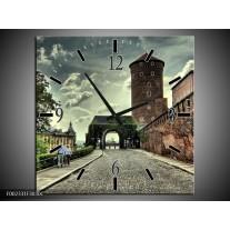 Wandklok op Canvas Krakow   Kleur: Bruin, Grijs, Groen   F002331C