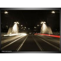 Glas schilderij Straat | Zwart, Wit, Rood