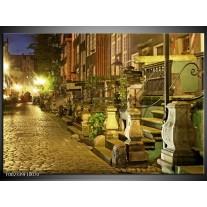 Glas schilderij Straat | Groen, Wit, Geel