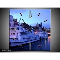 Wandklok op Canvas Boot | Kleur: Blauw, Wit, Grijs | F002340C