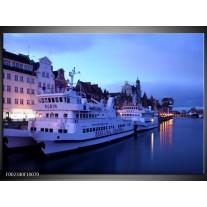Glas schilderij Boot | Blauw, Wit, Grijs