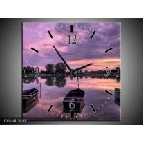 Wandklok op Canvas Boot | Kleur: Paars, Wit, Zwart | F002341C
