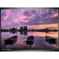 Glas schilderij Boot | Paars, Wit, Zwart