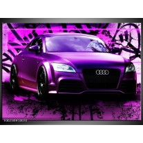 Glas schilderij Audi | Paars, Zwart, Wit