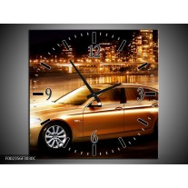 Wandklok op Canvas BMW | Kleur: Geel, Goud, Zwart | F002356C