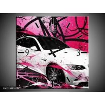 Wandklok op Canvas BMW | Kleur: Paars, Rood, Wit | F002358C