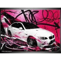 Glas schilderij BMW | Paars, Rood, Wit