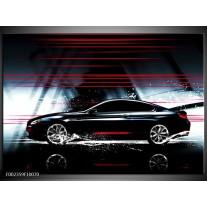 Glas schilderij Auto | Rood, Zwart, Grijs