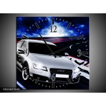 Wandklok op Canvas Audi | Kleur: Grijs, Blauw, Rood | F002360C