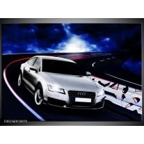Glas schilderij Audi | Grijs, Blauw, Rood