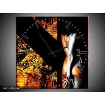Wandklok op Canvas Lichaam | Kleur: Geel, Oranje, Zwart | F002362C