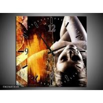 Wandklok op Canvas Lichaam   Kleur: Geel, Oranje, Zwart   F002364C