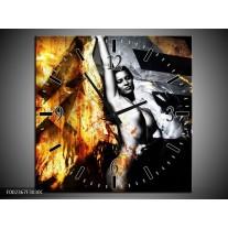 Wandklok op Canvas Lichaam | Kleur: Goud, Zwart, Grijs | F002367C