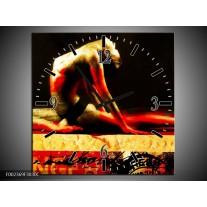 Wandklok op Canvas Lichaam | Kleur: Rood, Zwart, Goud | F002369C